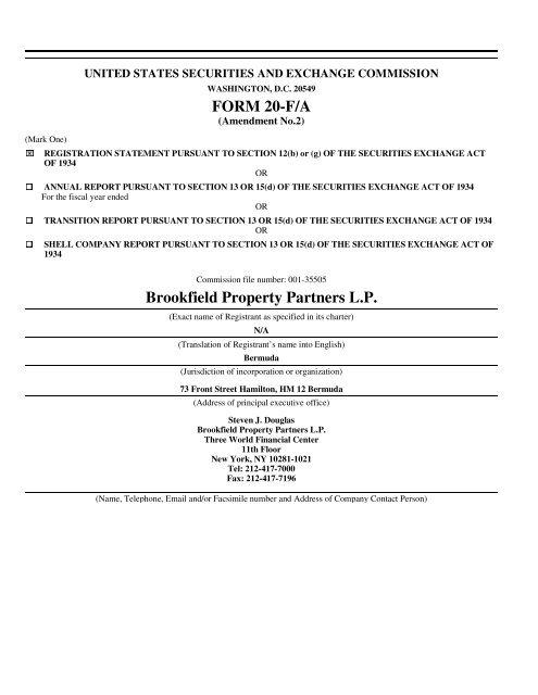 form 8992 partnership  FORM 11-F/A Brookfield Property Partners L.P. - Brookfield ...