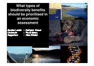 What types of biodiversity benefits should be prioritised in ... - Events