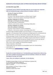 Architekturführungen 2009, Gesellschaft zur Erforschung des ...