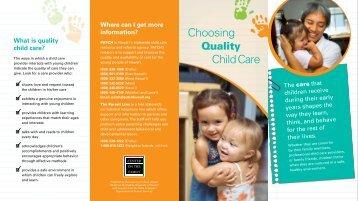 Choosing Child Care Brochure - Center on the Family