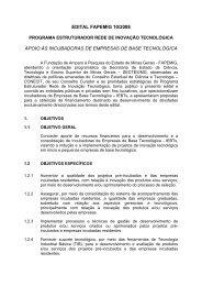 Edital 10-2008 Incubadoras - Fapemig