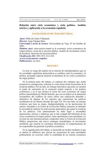 Relación entre ciclo económico y ciclo político. Análisis teórico y ...