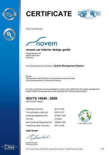 Certificate supplement dqs gmbh kuka systems for Novem car interior designs