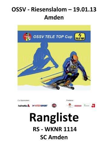 Rangliste - TG Wolzen