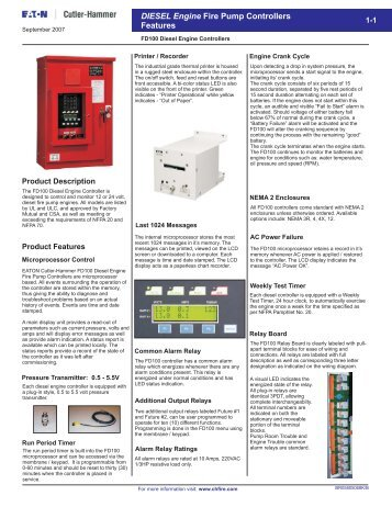 DIESEL Engine Fire Pump Controllers Features