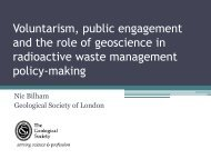 Voluntarism, public engagement and the role of geoscience in ...