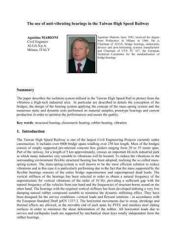 The use of anti-vibrating bearings in the Taiwan High ... - Alga S.p.A.