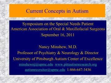 Current Concepts in Autism - University of Pittsburgh Department of ...