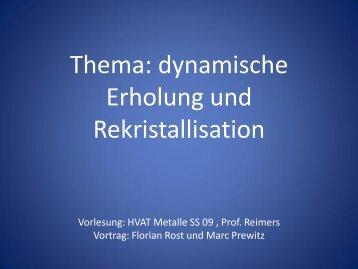 Dynamische Erholung und Rekristallisation in metallischen ...