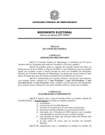 REGIMENTO ELEITORAL - CRO-RS