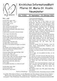Gottesdienst-Ordnung vom 10.09. bis 23.10.2011 - St. Vicelin