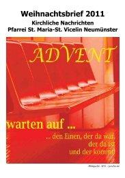 Weihnachtsbrief 2011 - St. Vicelin