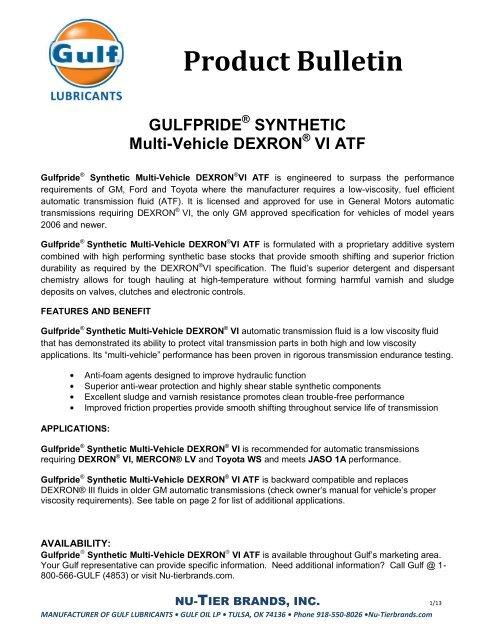 Product Bulletin - Gulf Lubricants