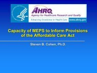 Capacity of MEPS to Inform Provisions of the Affordable Care Act