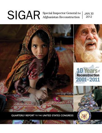 Quarterly Report - Special Inspector General for Afghanistan ...