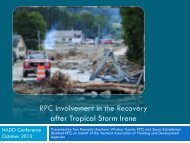 Lessons Learned from Irene - RPC Involvement in the ... - NADO.org