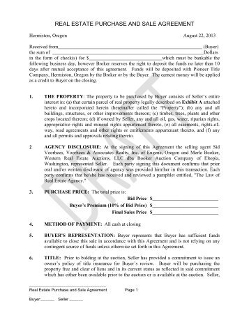 Vacant Land Purchase  Sale Agreement  Booker Auction Co