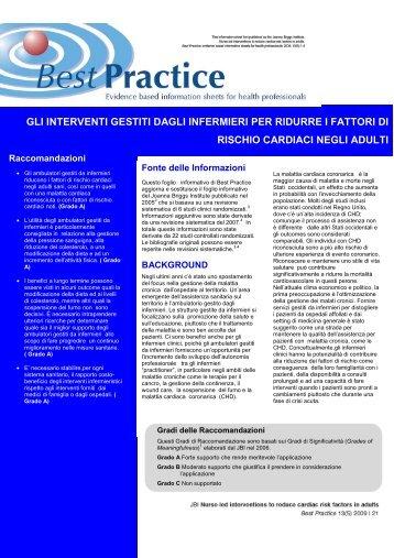 gli interventi gestiti dagli infermieri per ridurre i fattori di rischio ...