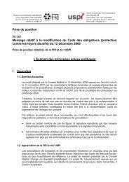 Prise de position 08.081 Message relatif à la modification du ... - Uspi