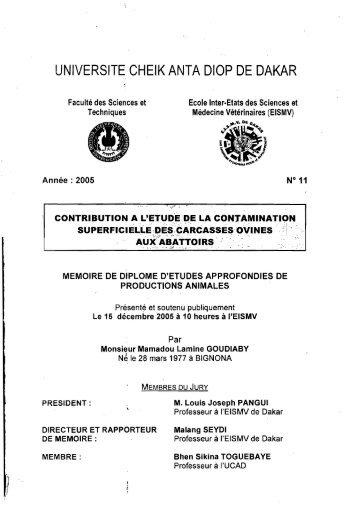 Contribution à l'étude de la contamination superficielle des ... - BEEP