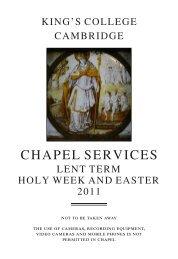 Lent Term 2011 Service List - King's College