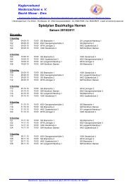 Spielplan Bezirksliga Herren - Keglerverband Niedersachsen eV