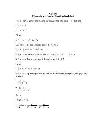 rational functions worksheet - Termolak