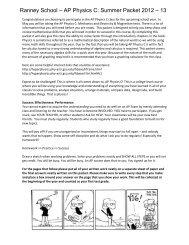 Ranney School – AP Physics C: Summer Packet 2012 – 13