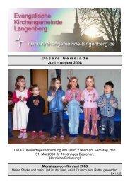 U n s e r e G e m e i n d e Juni – August 2008 - Evangelische ...