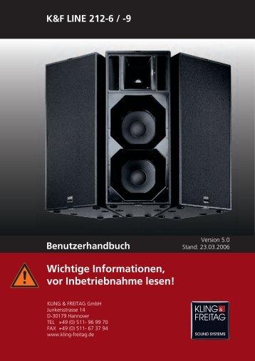 Benutzerhandbuch Wichtige Informationen, vor ... - Kling & Freitag