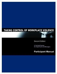 taking control of workplace violence - TRAINING SOLUTIONS Inc.