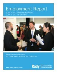 2012 Employment Report - Rady School of Management - UC San ...