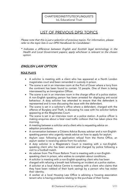 list of topics english