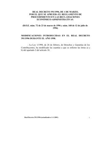 real decreto 391/1996, de 1 de marzo, por el que se ... - Procesa
