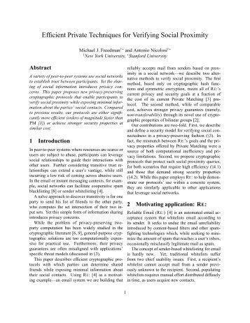 Efficient Private Techniques for Verifying Social Proximity - Princeton ...
