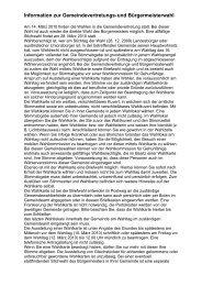 Information zur Gemeindevertretungs-und Bürgermeisterwahl