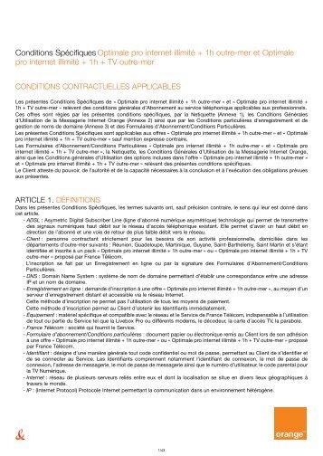 Conditions Spécifiques Optimale pro internet illimité + 1h ... - Orange