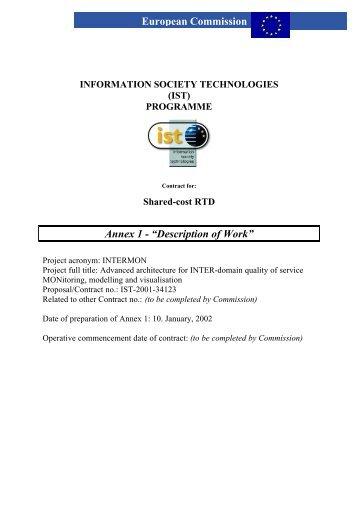 "Annex 1 - ""Description of Work"" European Commission - IST Intermon"