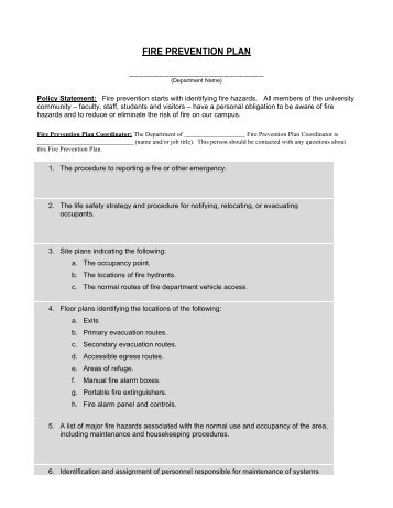 Fire prevention plan a pleasant construction fire prevention plan templatepdf maxwellsz