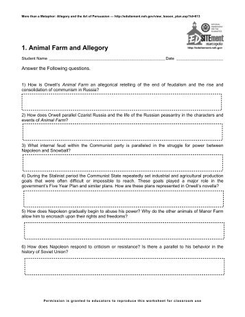 Animal Farm Chapter 3 Worksheet 2