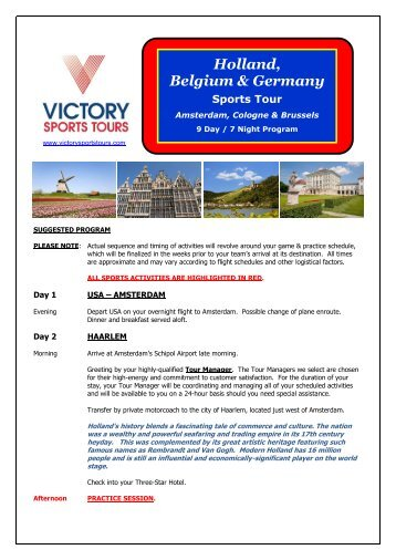 Netherlands, Belgium & Germany #1 - Victory Sports Tours