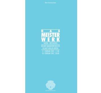 MEISTER WERK - Kölner Philharmonie