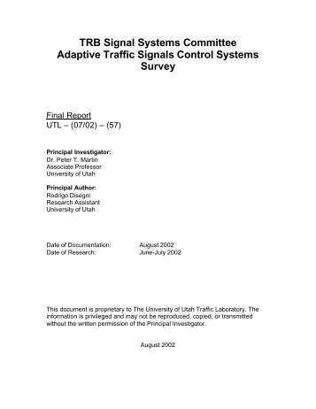 TRB Signal Systems Committee Adaptive Traffic Signals Control ...