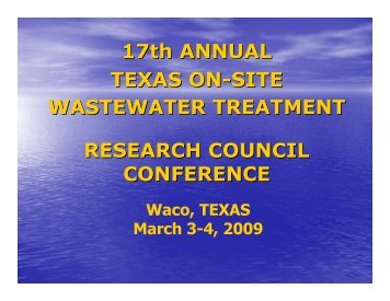 17th Annual Texas On-Site Wastewater Treatment Research ...