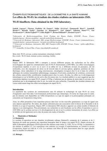 les résultats des études réalisées au laboratoire IMS. - URSI-France