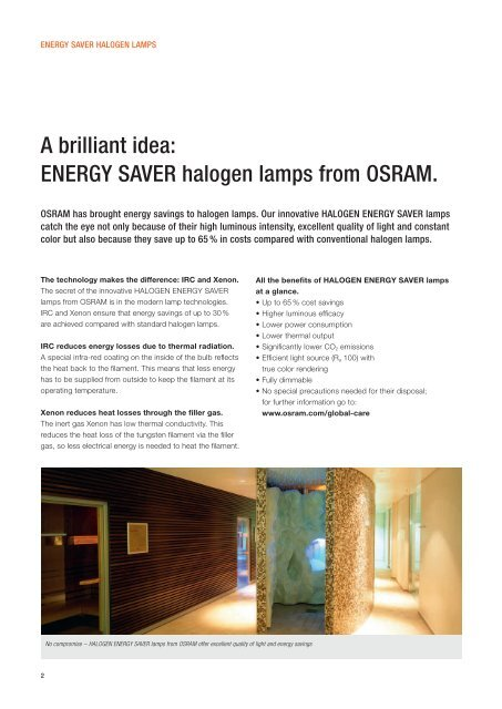 with HALOGEN ENERGY SAVER lamps.