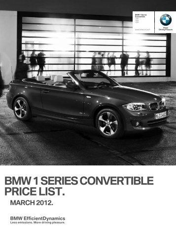 BMW 1 SERIES CONVERTIBLE PRICE LIST.