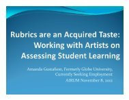 Working with Artists on Assessing Student Learning