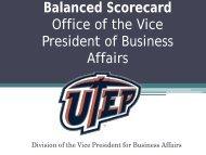 VPBA Balanced Scorecard Presentation - University of Texas at El ...
