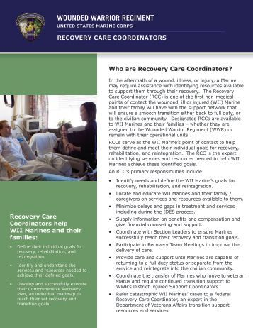 RECOVERY CARE COORDINATORS Who are Recovery Care ...